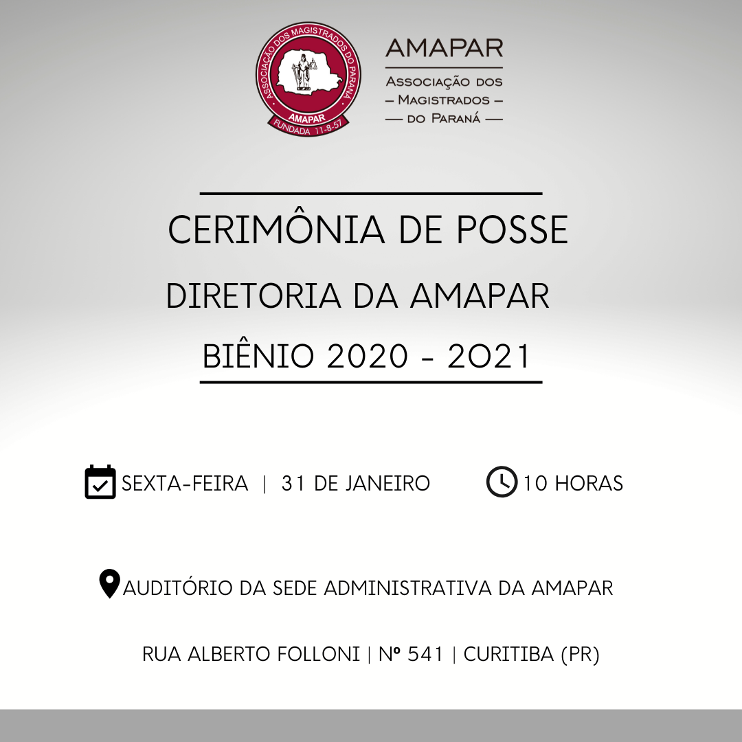 Posse da diretoria da AMAPAR, biênio 2020/2021, será na sexta-feira (31)