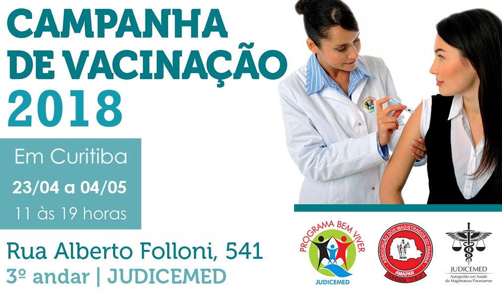 Campanha de vacinação da Judicemed começa nesta segunda-feira (23). Confira o cronograma nas comarcas